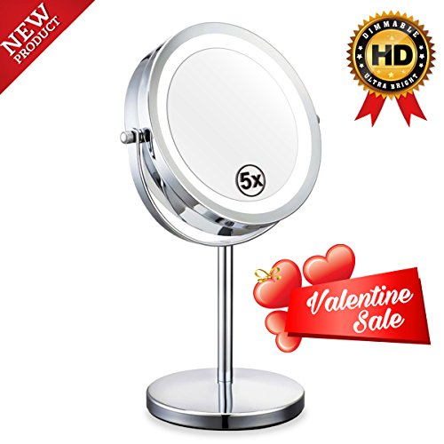 Ab Bathroom Lights (Double Sided Lighted Mirror - 7in LED Makeup Mirror With Lights,1x/5x Magnifying Vanity Mirror With Stand,Round Cosmetic Mirror for Bathroom or Bedroom Countertop,Desk Mirror With 360° Rotation)