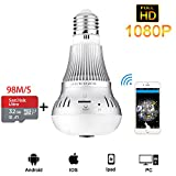 JANEDI WiFi Bulb Camera 360 Degree Panoramic IR Motion 2.0MP 1080P HD Wirless Hidden Camera Bulb Light and Infrared Night Vision with 32G Storage for Home Security Systems