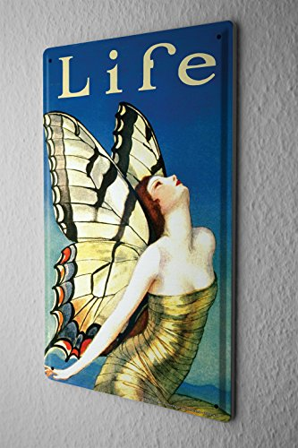 Butterfly Wings Postcard - Tin Sign Fantasy Gothic Woman butterfly wings Decorative Wall Metal Plate 8X12