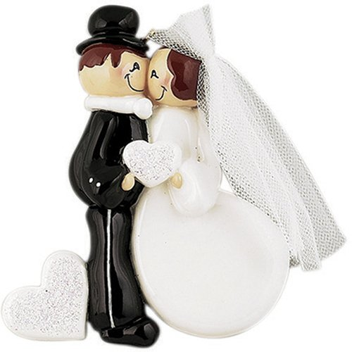 Personalized Wedding Kiss Christmas Ornament for Tree 2018 - Brunette Couple Just Married Glitter Heart - Newlywed Bride Tulle Dress Groom - 1st Ceremony Romantic Love I do Gift - Free Customization -