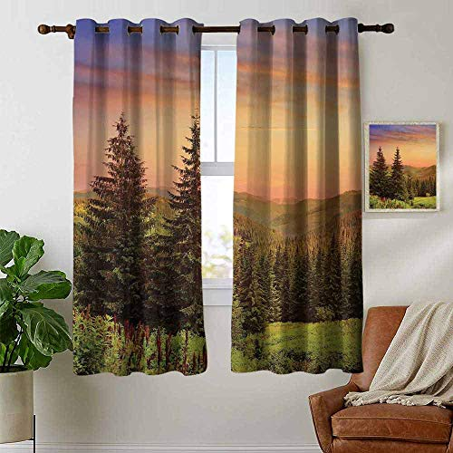 petpany Grommet Curtains Forest,Heaven Like View with Fir Trees Pines Spruce on Sidehills at Dawn Outdoors,Green Coral Lilac,Blackout Draperies for Bedroom Window 42