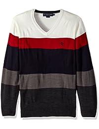 Men's Striped V-Neck Sweater