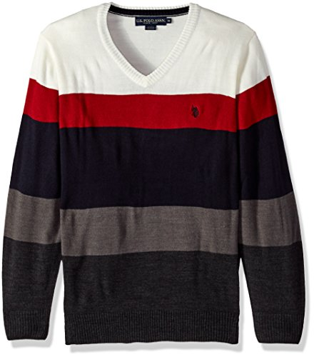 U.S. Polo Assn. Men's All Over Striped V-Neck Sweater, Winter White, XX-Large (Striped Sweater Winter)
