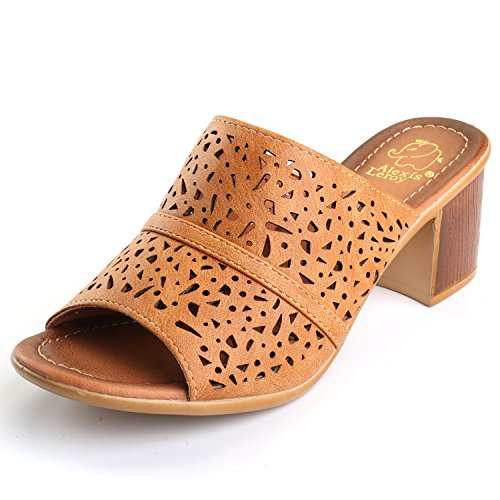 Alexis Leroy Women S Block Heel Hollow Out Open Toe Slip On Mule Sandals Camel 40 M Eu 9 9 5 B M  Us