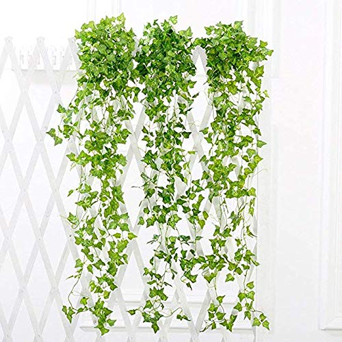 YSBER 12pcs(90 inch Each) Artificial Ivy & Silk Fake Ivy Leaves Hanging Vine Leaves Garland for Wedding Party Garden Wall Decoration (Sweet Potato Leaves)]()