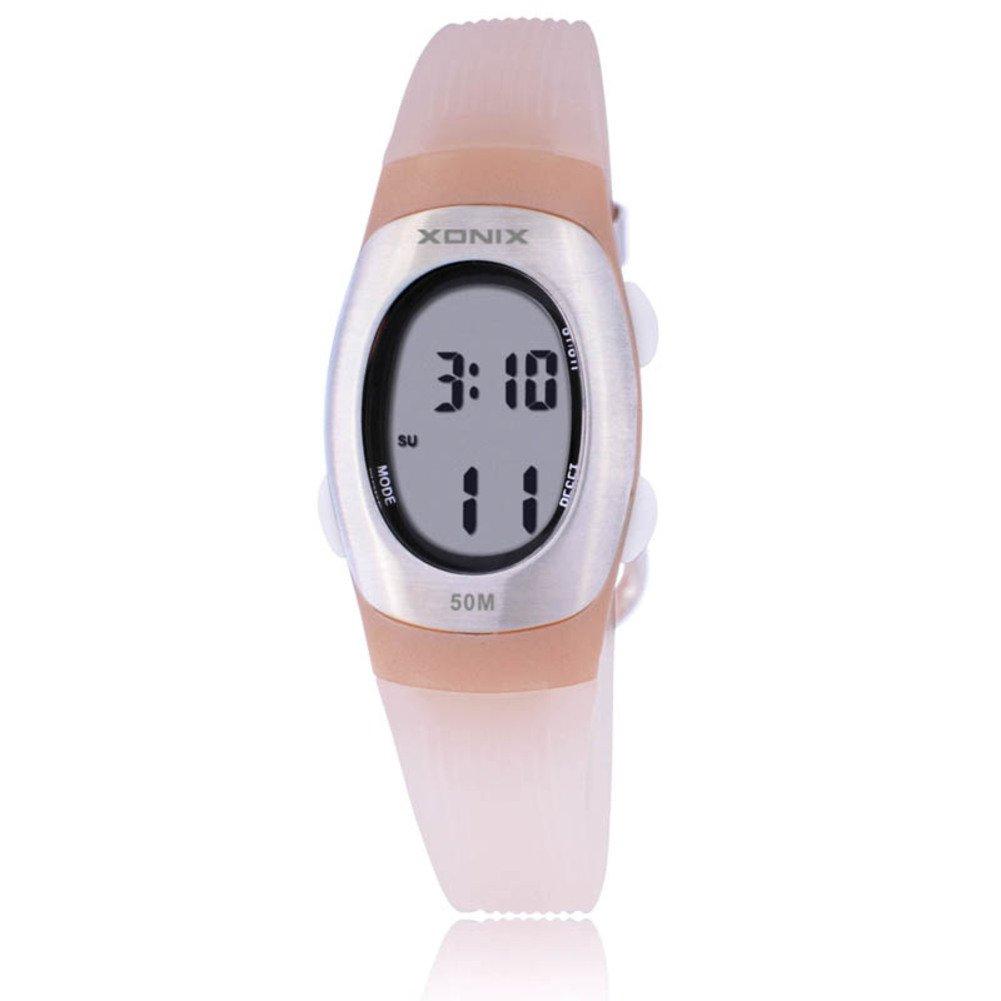 Children's multi-function digital electronic watch,Jelly 50 m waterproof resin alarm stopwatch girls or boys small simple fashion retro wristwatch-G