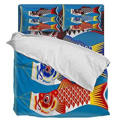 (4 Piece Bedding Sets Orson Welles Carp Kite Duvet Cover Set One Side Printed Super Soft Twill Plush Comforter Set Twin)