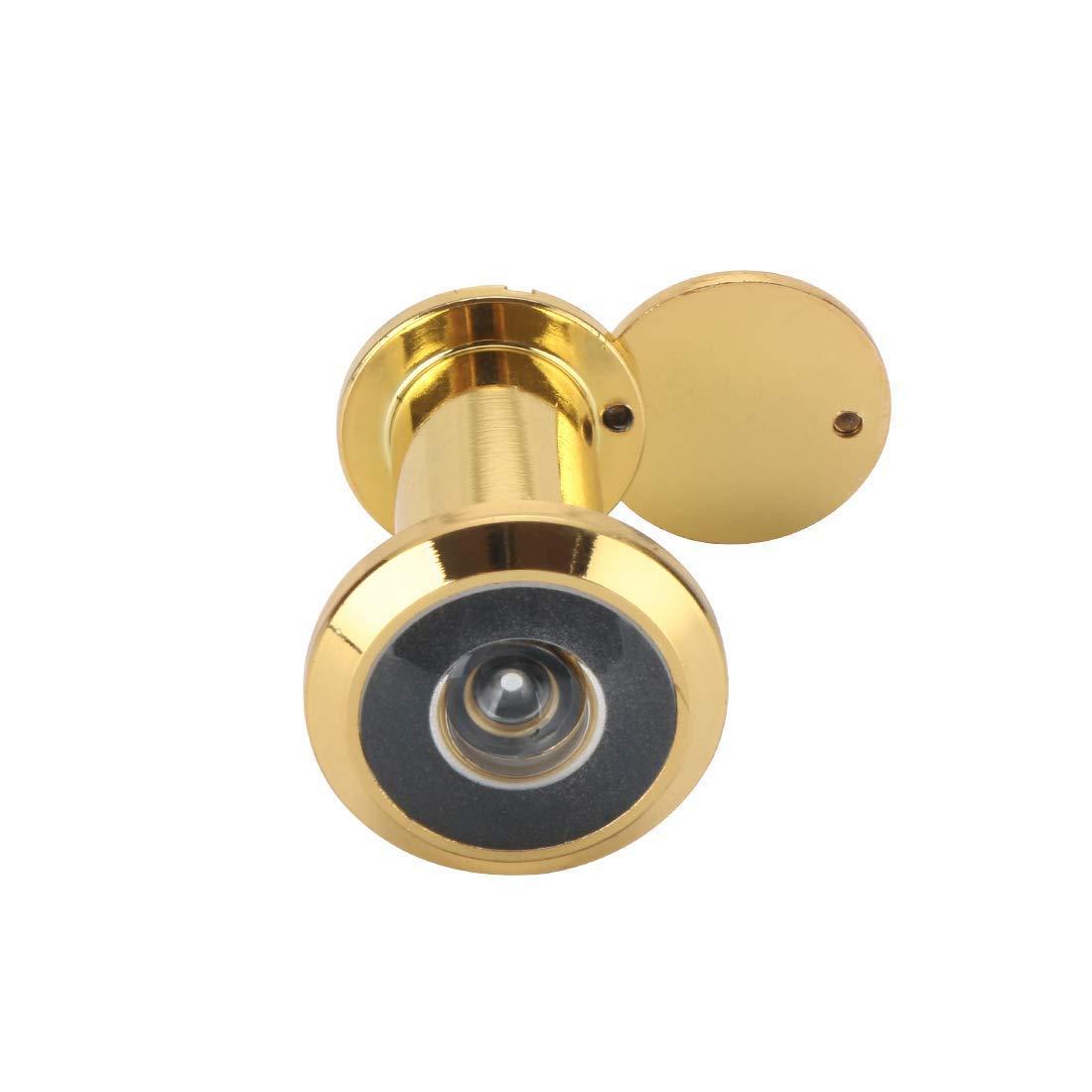 Tü rspion aus massivem Messing, 200-Grad-Tü rspion mit robuster rotierender Sichtschutzabdeckung fü r 3,8 cm bis 6,3 cm Tü ren fü r Zuhause, Bü ro, Hotel (Gold) Junxave