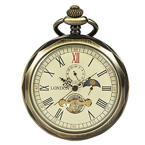 ManChDa Bronze Roman Numerals Mechanical Pocket Watch Open Face With Chain Men 24-Hour Moon Sun + (Vintage Style Pocket Watch)