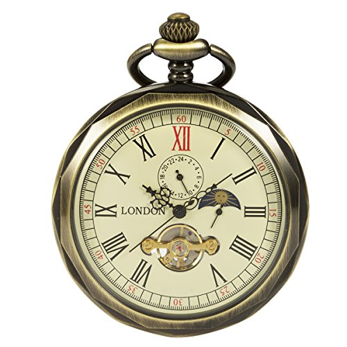 ManChDa Bronze Roman Numerals Mechanical Pocket Watch Open Face With Chain Men 24-Hour Moon Sun + Box