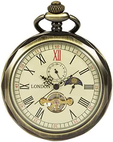 ManChDa Bronze Roman Numerals Mechanical Pocket Watch Open Face With Chain Men 24-Hour Moon Sun + Box