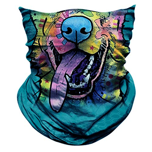 2 Pack - 3D Animal Neck Gaiter Scarf Bandana Face Mask Seamless UV Protection for Motorcycle Cycling Riding Running Fishing Hiking Conoeing Funny Dog