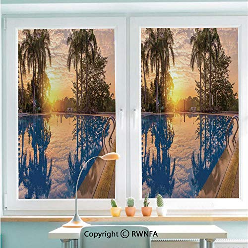 RWNFA Non-Adhesive Privacy Window Film Door Sticker Luxury Swimming Pool Reflexion in Morning Sunrise Modern Nature Cloudscape Sunshine Glass Film 22.8 in by 35.4in(58cm by 90cm),