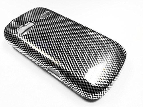 For LG Expression C395c / Xpression C395 Phone Cover Hard Case + Happy Face Phone Dust Plug (Carbon Fiber Design) (Faceplate Protector Carbon Fiber)