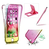 Case for iPhone 7,Silicone TPU Cover for iPhone 7,Herzzer Ultra thin [Gradient Color] Soft TPU Gel Slim Fit Shockproof Scratch Resistant Front and Back Full Body 360 Degree Protective Case for iPhone 7 4.7 inch + 1 x Free Pink Cellphone Kickstand + 1 x Free Pink Stylus Pen - Pink + Yellow