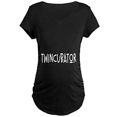193c06f90ed47 CafePress Twincubator Cotton Maternity T-Shirt, Side Ruched Scoop Neck Black
