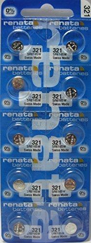 Price comparison product image Renata 321 SR616SW SR616 D321 V321 SR65 GP321 LR65 Silver Oxide Mercury Free Electronic Batteries x 10