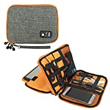 Travel Cable Organizer, Universal Electronic Accessories Storage Bag for Cord, Earphone, SD Card, USB Flash Drive and more, Perfect Size for iPad (Grey and Orange)