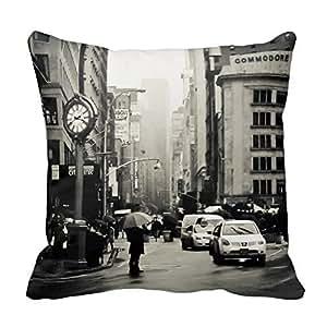 Cotton 16 X 16 Twin Sides Rain In New York City - Vintage Style Throw Pillowcases