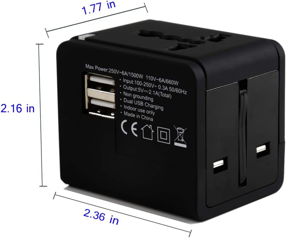 Universal Travel Adapter Asia-Black International Power Adapter with Dual USB Ports EKUCI Integrated Global Travel Universal Charger Socket US Worldwide AC Outlet Plugs Adapters for Europe AU UK
