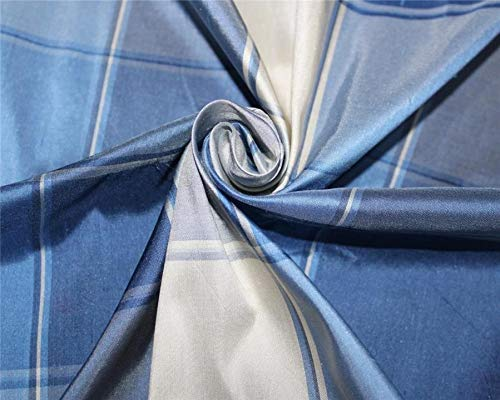 Puresilks Silk Dupioni Fabric Plaids Shades of Blue and Ivory Color 54'' Wide DUP#C102[1]
