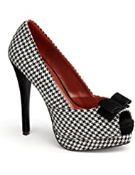 5 1/2 High Heel Pumps Peep Toe Houndstooth Shoes Fabric Black White