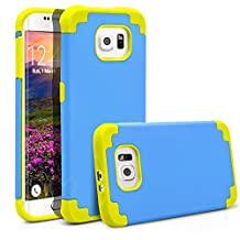 Galaxy S6 Edge Case, MagicMobile® Hybrid Ultra Protective Thin Armor Dedenfer Case For Samsung Galaxy S6 Edge Shockproof Skin Hard Dual Cover High Impact Case for Galaxy S6 Edge (2015) [Blue / Yellow]