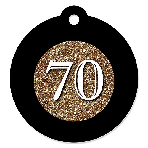 Adult 70th Birthday - Gold - Birthday Party Favor Gift Tags (Set of 20)