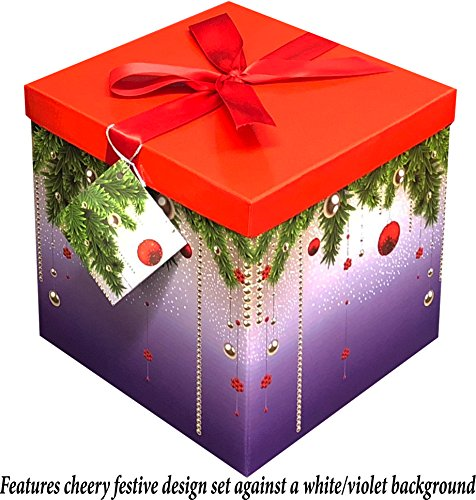 EndlessArtUS 10x10x10 Silent Night, Box Easy to Assemble No Glue Required with Tissue and Gift Tag - EZ Gift Box by by EndlessArtUS