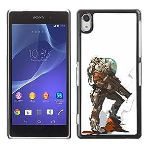 Planeta extranjero héroe Carácter futurista- Metal de aluminio y de plástico duro Caja del teléfono - Negro - Sony Xperia Z2