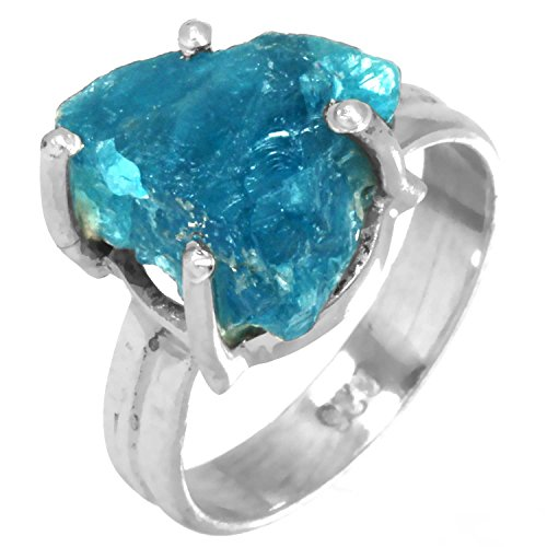 Solid 925 Sterling Silver Stylish Jewelry Genuine Neon Blue Apatite Rough Gemstone Ring Size 5 ()
