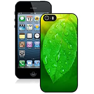 Popular And Durable Designed Case For iPhone 5 5s With Fresh Green Leaf with Dew Drops Phone Case