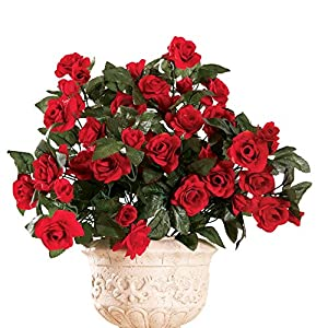 "Collections Etc Artificial Floral Rose Bushes - Set of 3, Maintenance Free, Red, 18"" H 83"