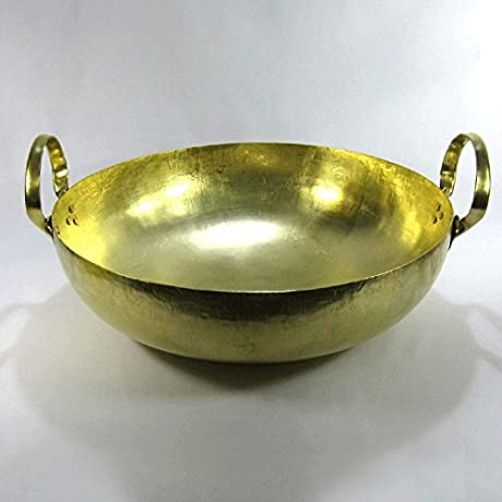 THAI WOK BRASS PAN No 22 BOWL CHARCOAL TUM YUM SOUP INDIA CURRY DESSERT KARAHI 19 Inches