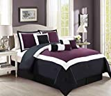 Black and White King Size Bedding Sets 7 Piece Purple / Black / White Color Block Comforter set King Size Bedding