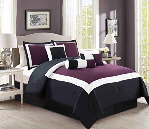 7 Piece Purple / Black / White Color Block Comforter set California King Size Bedding