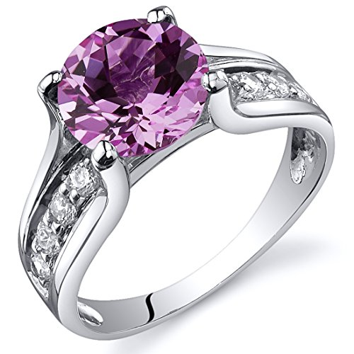 Created Pink Sapphire Solitaire Ring Sterling Silver Rhodium Nickel Finish 2.75 Carats Size 7