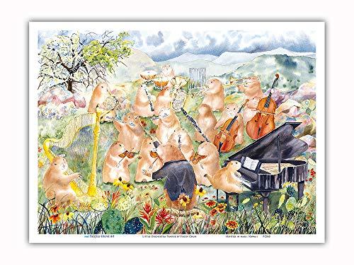 Pacifica Island Art - Little Orchestra Prairie - Musical Prairie Dogs - from an Original Hawaii Watercolor Painting Peggy Chun - Master Art Print - 9in x (Prairie Island)