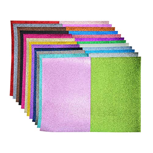 Glitter Fabric Faux Leather Sheets- 24 Pieces Assorted Colors A5 Size(8X6 Inch)Shiny Glitter Canvas Sheets for Bows, Earrings, Hair Accessories Making(24 Colors, Each Color One Sheet)