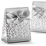 VORCOOL 50pcs Gift Boxes with Ribbons Wedding Party Favour Candy Boxes (Silver)
