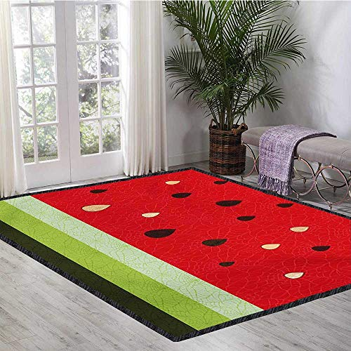 Nature, Area Rug Pad, Macro Watermelon Pattern Fresh Ripe Organic Fruit Seeds Cute Artsy Illustration, Door Mat Indoors Bathroom Mats Non Slip 5x7 Ft Red Green Black