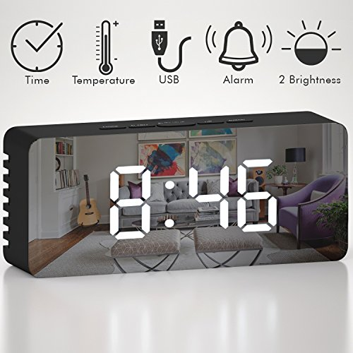 Alarm Clock- LED Mirror Display with USB Charging Port