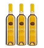 3x Kourtaki Samos Muskateller Likörwein 15% je 750ml griechischer Weißwein Dessertwein Süßwein Muskat Muscat Weiß Wein aus Griechenland im Spar Set + Probiersachet 10ml Olivenöl