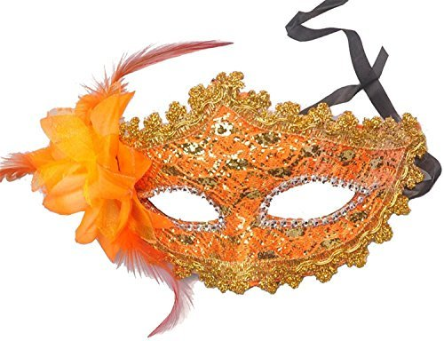 Valuable Masquerade Masks,FuzzyGreen Orange Ladies Women Party Mardi Gras Carnival Costume Venetian Pattern Flower and Feathers Lace Sequins Rhinestones Decor Mask Masquerade