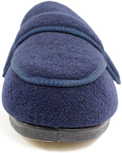 EEE Mens Slippers Wide Navy Orthopaedic Boot Fit Adjustable Slipper 5vvCxrz
