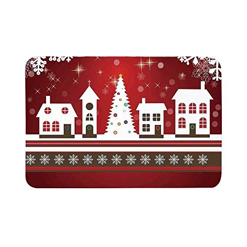 - C COABALLA Christmas Decorations Durable Door Mat,Winter Holidays Theme Gingerbread House Tree Lights and Snowflakes Art for Living Room,15.7