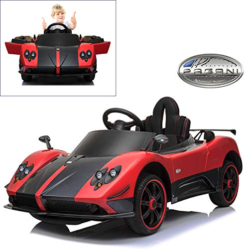 Pagani Zonda R Roadster Electric Ride On Car with Remote Control, Power Seat for Kids | 12V Power Battery Official Licensed Kid Car to Drive with 2.4G Radio Parental Control, Openable Door -Red