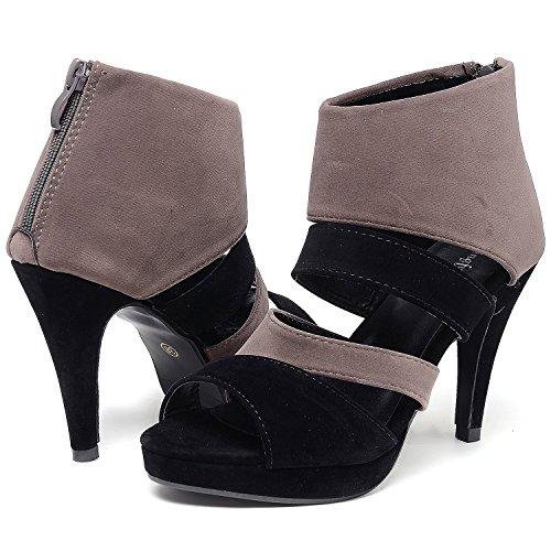 Odema à Sandale manches longues talon à Gris Noir Chaussure longues manches Femmes à IOqr0wZI