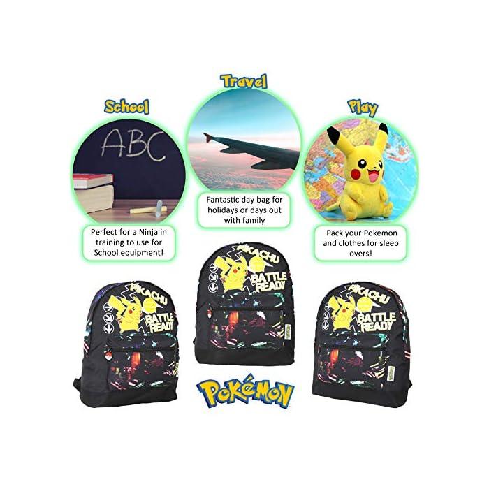 ✔ MOCHILA QUE BRILLA EN LA OSCURIDAD: el regalo definitivo para los fans de Pokemon. Esta mochila Pokemon para niños es perfecta para la escuela o de viaje y cuenta con un pequeño Pikachu listo para la batalla en la parte delantera. Esta bonita mochila negra para niños con correas ajustables para mayor comodidad, un bolsillo frontal con cremallera y compartimento principal y lona de alta calidad. ✔ BOLSA CON CORDÓN QUE BRILLA EN LA OSCURIDAD: puedes comprar nuestra bolsa de natación Pokemon con cordón que brilla en la oscuridad para niños. Esta gran bolsa de natación es muy práctica para llevar todas sus cosas durante viajes, vacaciones, sesiones de juego o fiestas de pijamas, como bolsa de natación para las clases de natación o como bolsa de polietileno. También hemos incluido una sección de malla para permitir el flujo de aire, perfecto para kits de deportes húmedos. ✔ BRILLAN EN LA OSCURIDAD MOCHILAS PARA NIÑOS: haz una declaración con nuestra divertida mochila que brilla en la oscuridad y bolsa de gimnasio. Nuestras bolsas que brillan en la oscuridad absorberán la luz solar durante el día y la escritura fluorescente brillará por la noche.