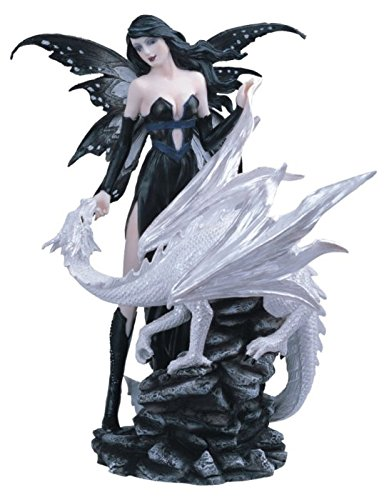 StealStreet Black Fairy with White Dragon Collectible Figurine Decoration Statue